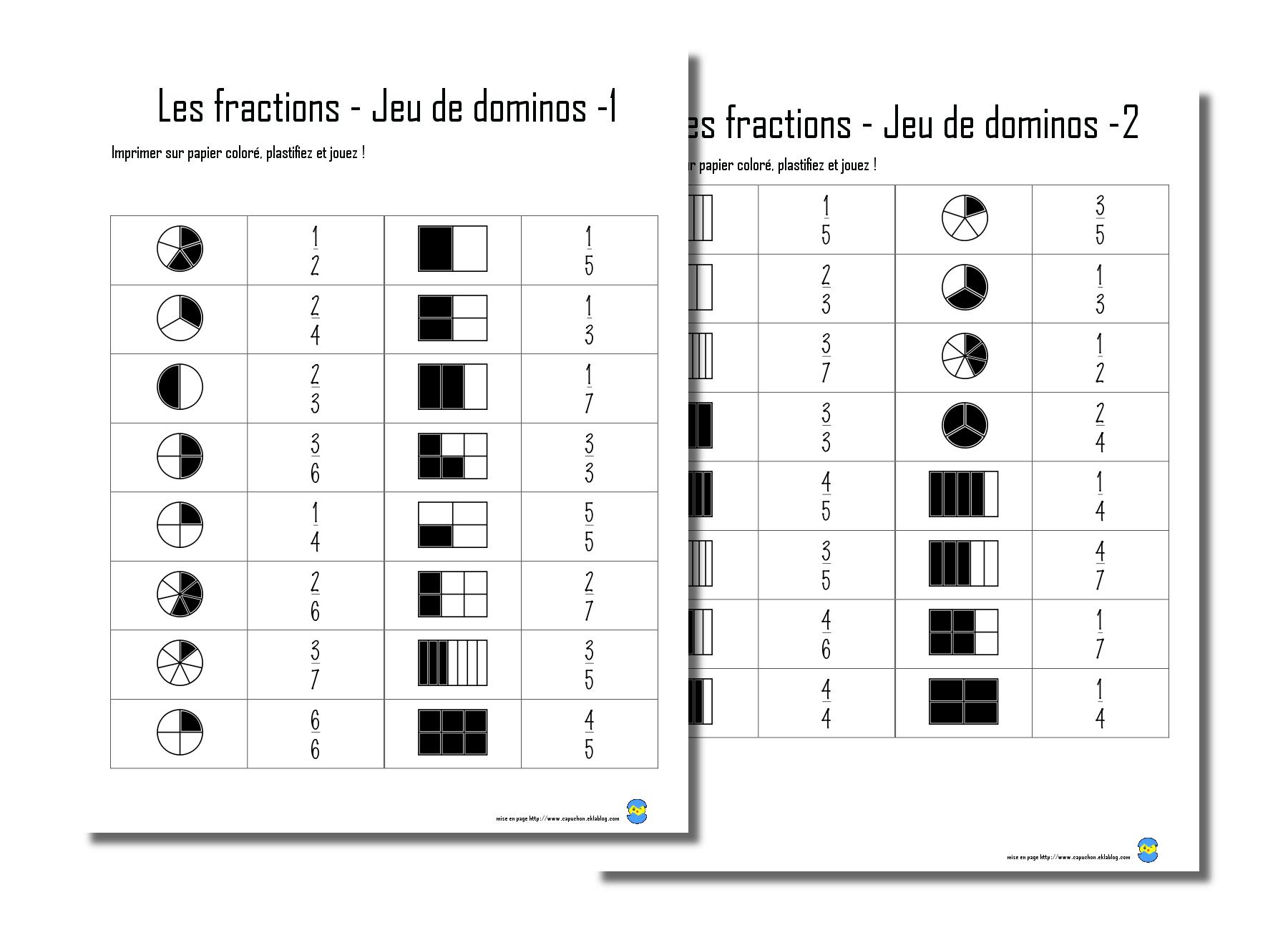 Les Fractions - Capuchon À L'école à Dominos À Imprimer