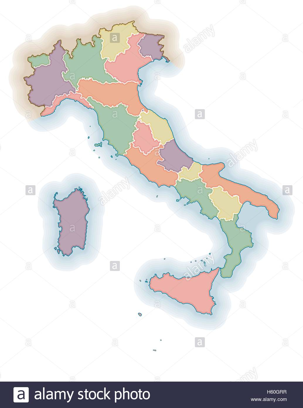 Les Frontières Des Régions Italiennes Carte Vierge. Carte à Carte Des Régions Vierge