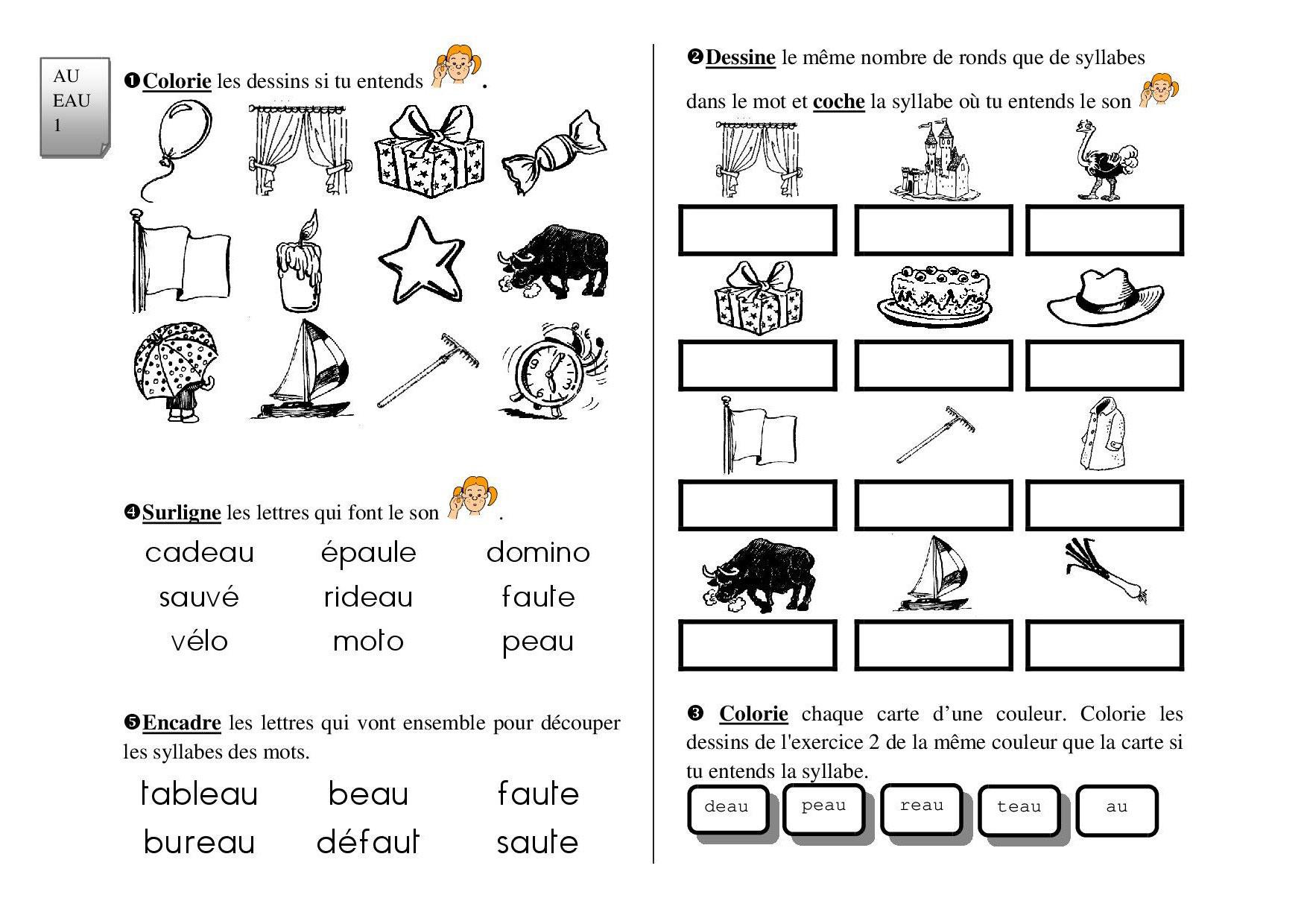 Les Graphies Complexes : Exercices D'entraînement - Fiches dedans Mots Coupés À Imprimer