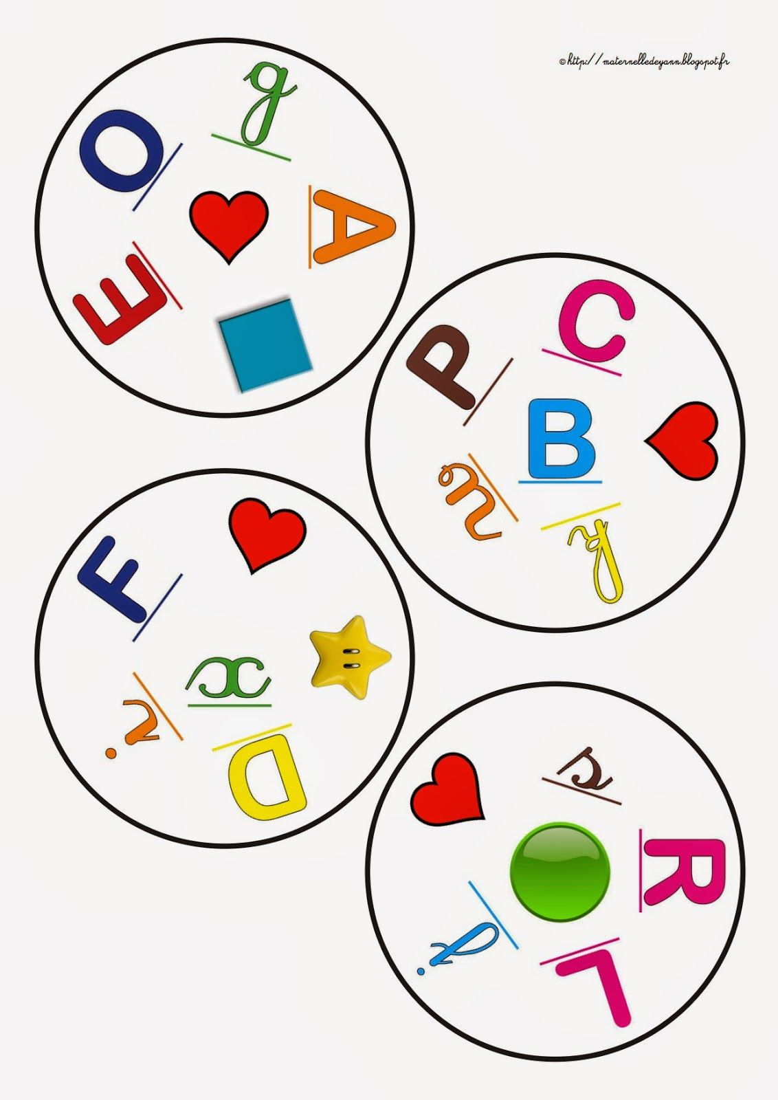 Les Jeux D'association De Yann, Des Mini Dobbles À Fabriquer pour Jeux Alphabet Maternelle Gratuit