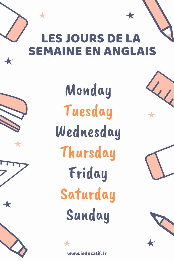 Les Jours De La Semaine En Anglais - Jeux Éducatifs pour Jeu En Anglais À Imprimer