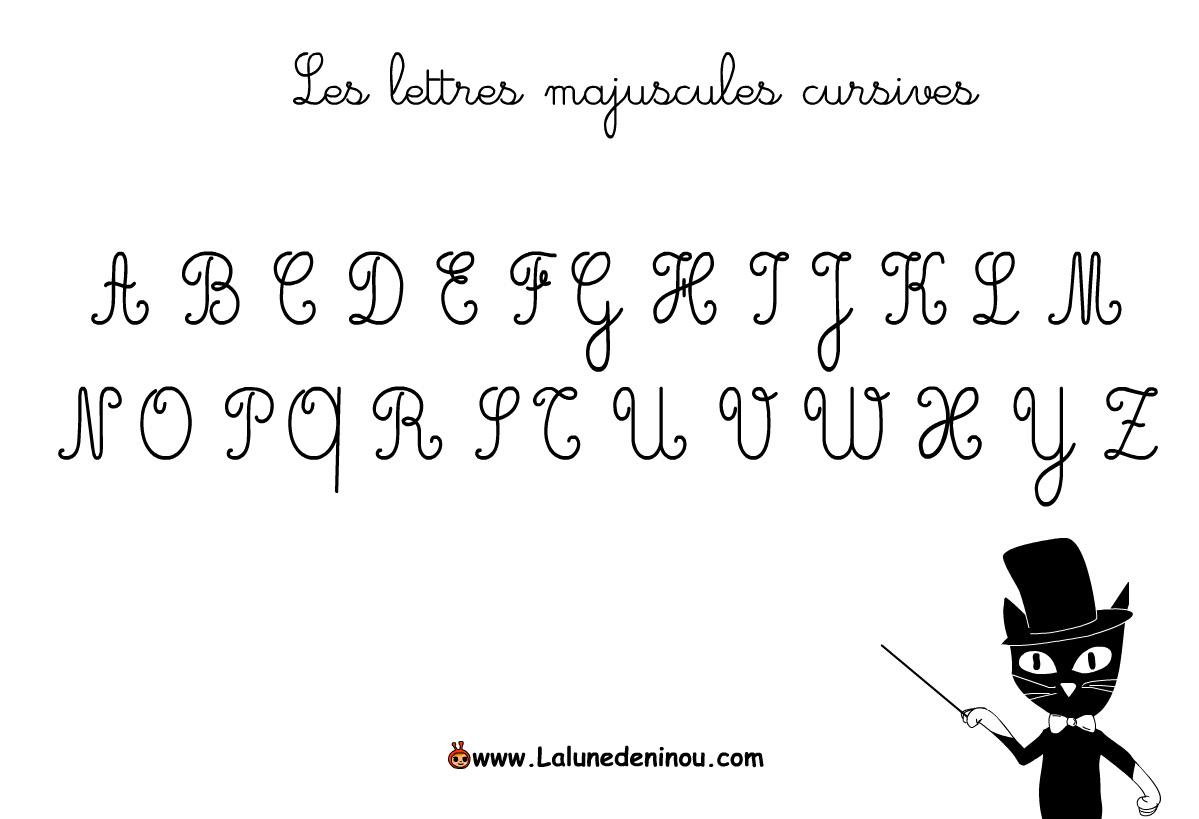 Les Lettres Majuscules Cursives - Jeux Pour Enfants Sur à Lettres Majuscules À Imprimer