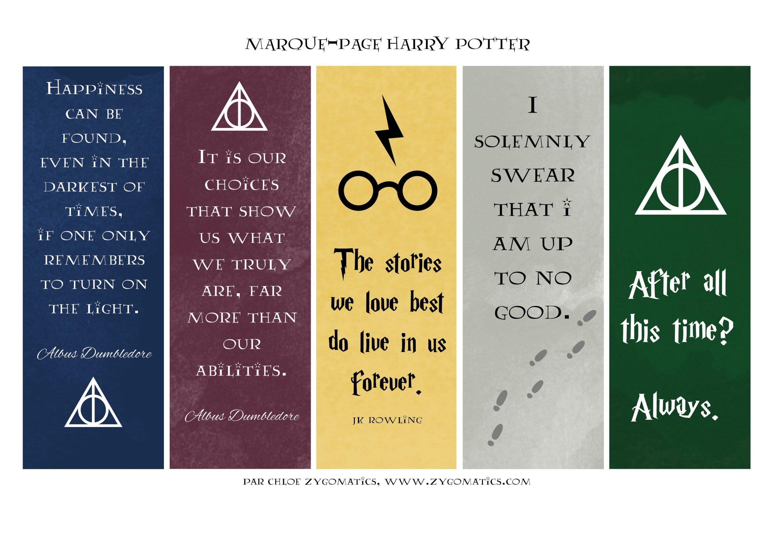 Les Marque-Pages Harry Potter & La Version Illustrée Du Tome concernant Marque Page Gratuit À Imprimer