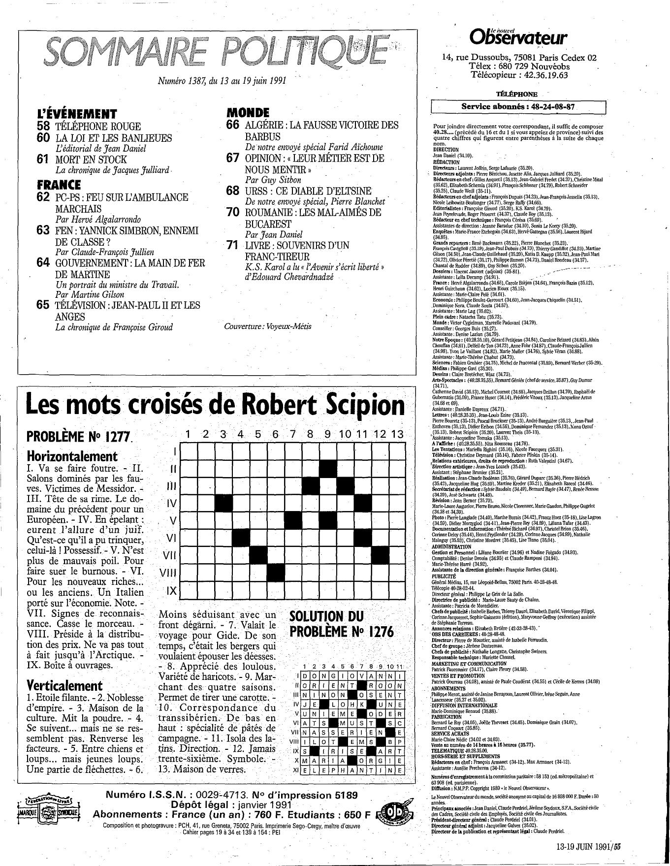 Les Mots Croisés De Robert Scipion concernant Résultats Mots Croisés