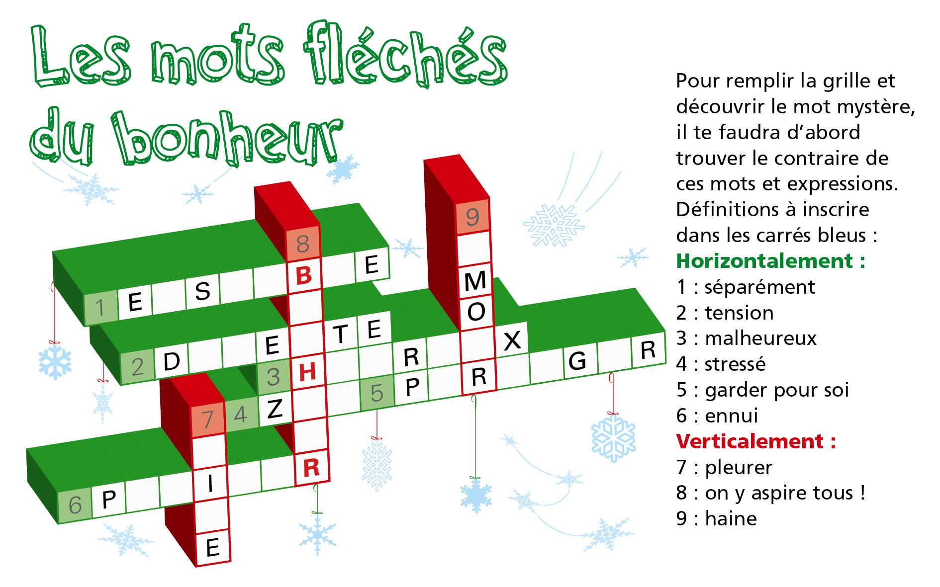 Les Mots Fléchés Du Bonheur / Jeu Lig'up - Lig'up concernant Les Mot Fleches Gratuits