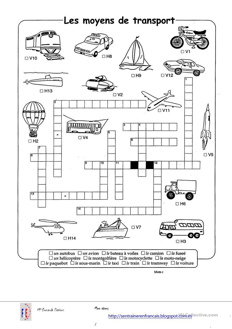 Les Moyens De Transport - Lessons - Tes Teach serapportantà Exercice Ludique