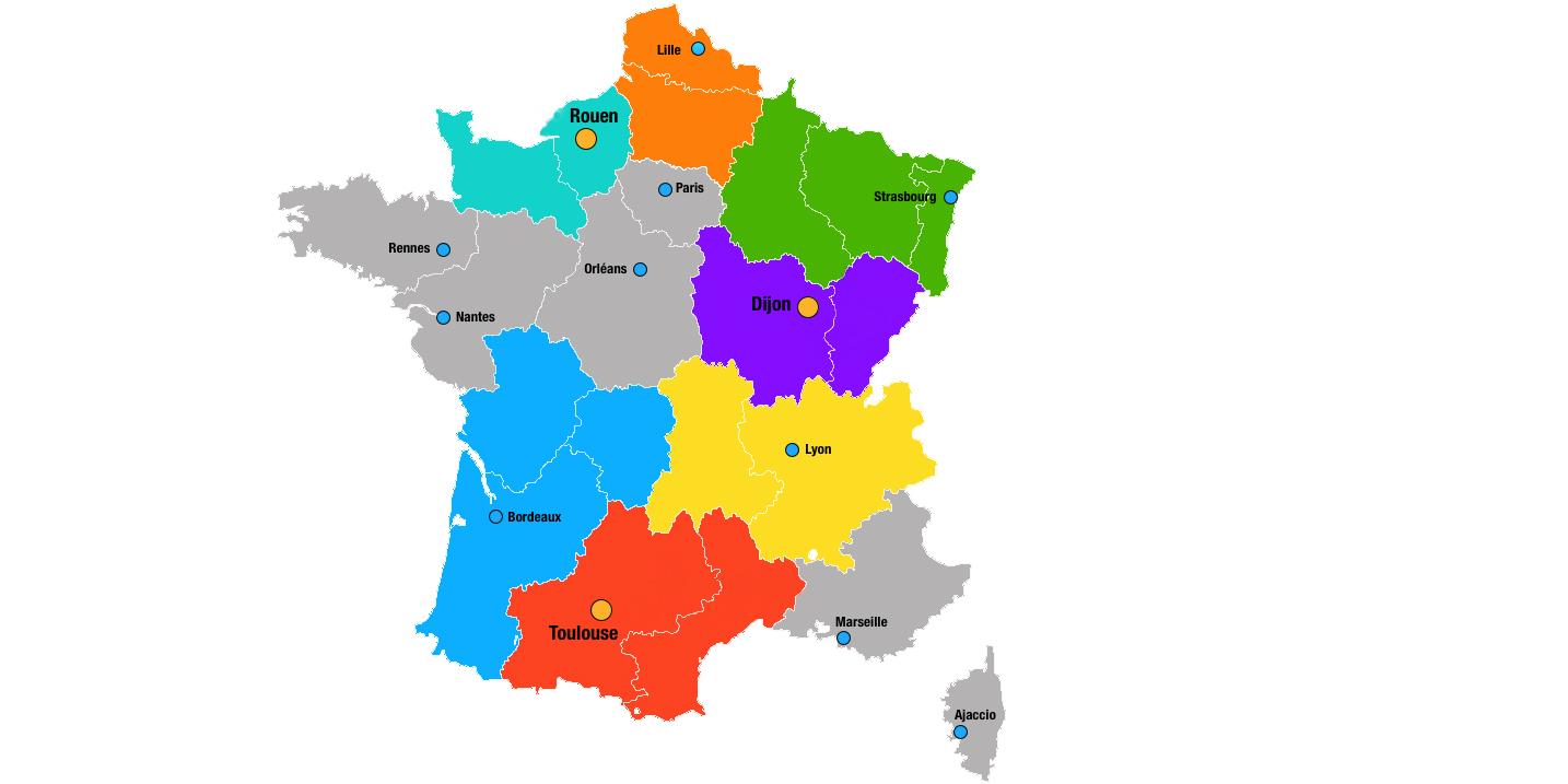 Les Nouvelles Capitales Régionales Et Les Villes Qui Ne dedans Nouvelles Régions De France 2016