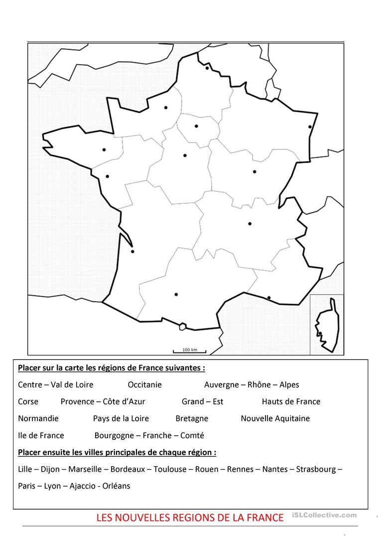 Les Nouvelles Régions De La France - Français Fle Fiches encequiconcerne Les Nouvelles Regions