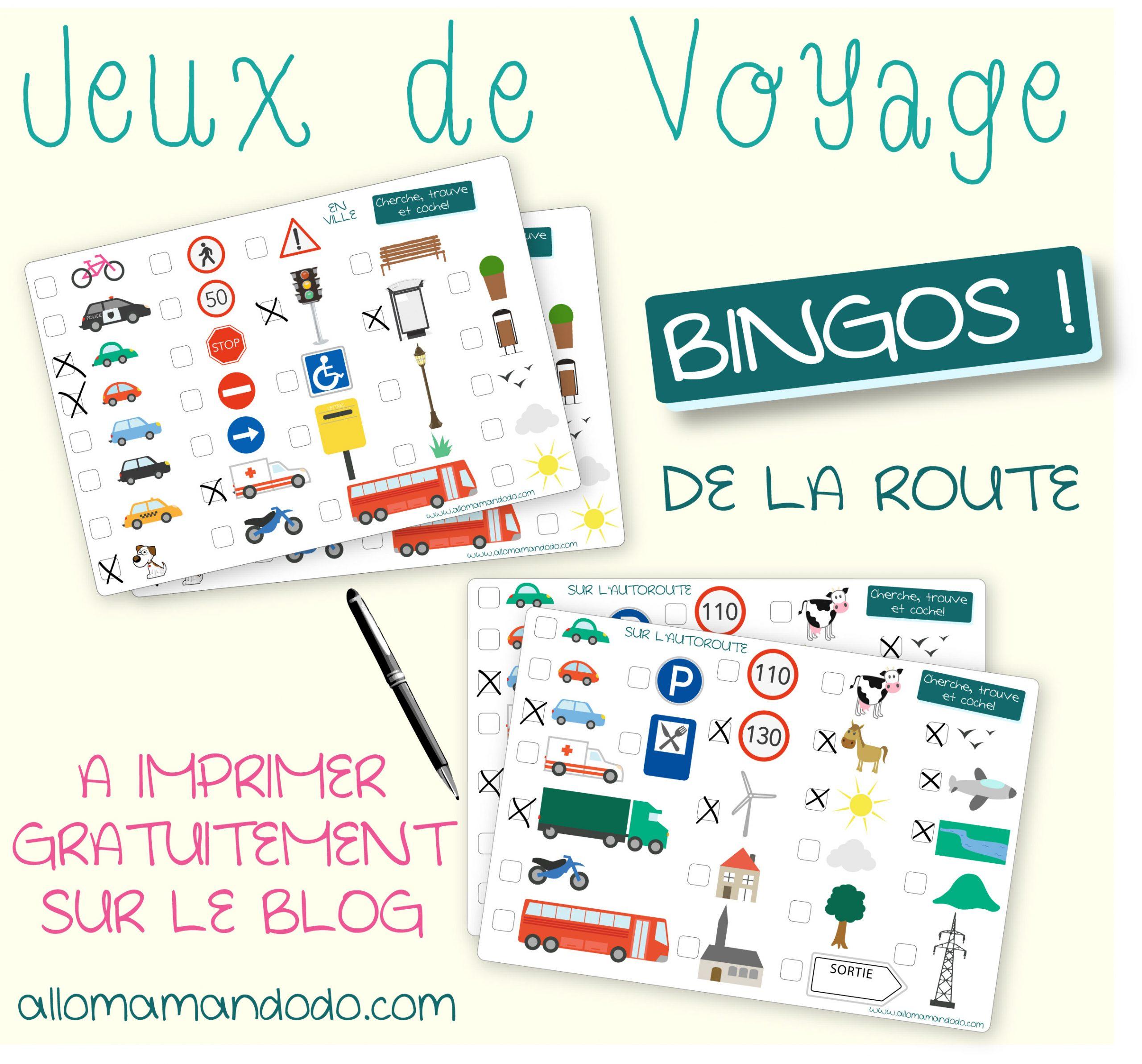 """Les Occuper En Voiture: Jeux De Voyage """"bingo De La Route"""" À dedans Jeux À Imprimer 6 Ans"""