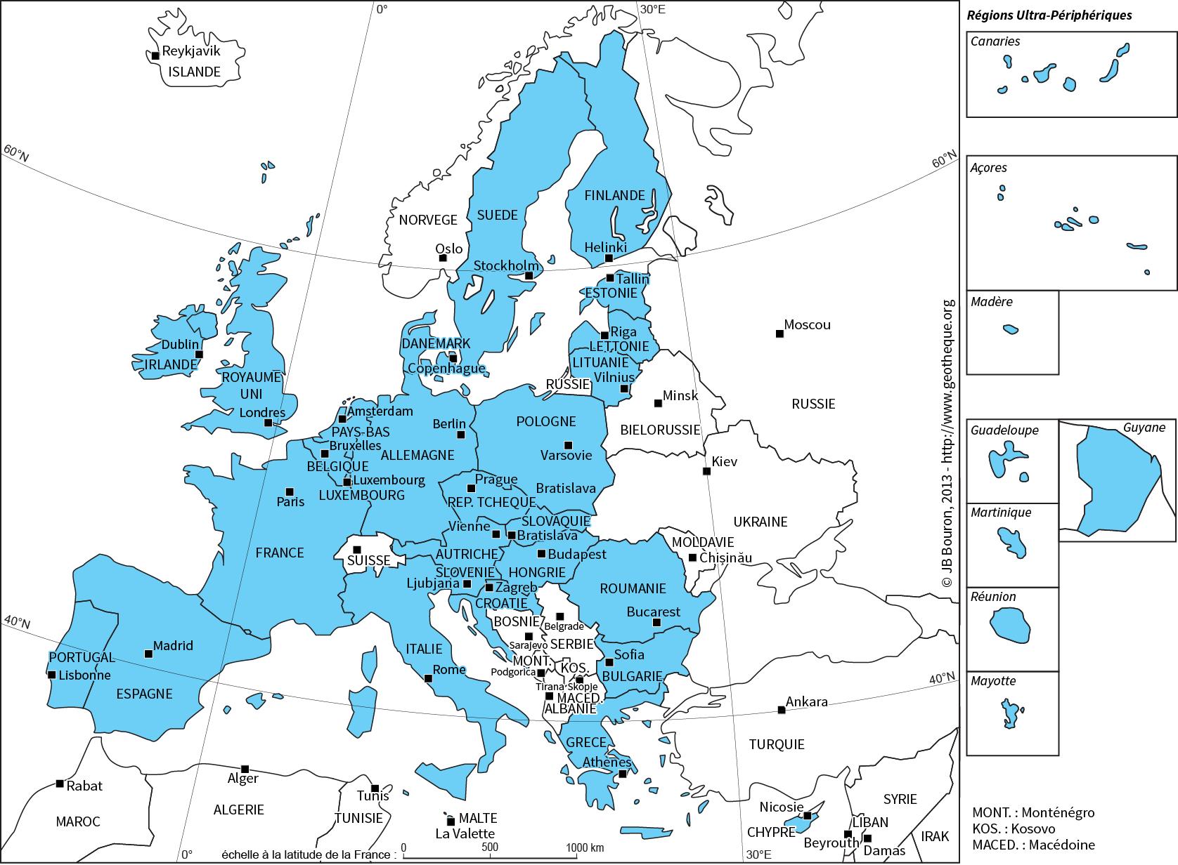 Les Pays De L'union Avec Leur Capitale encequiconcerne Carte D Europe Capitale