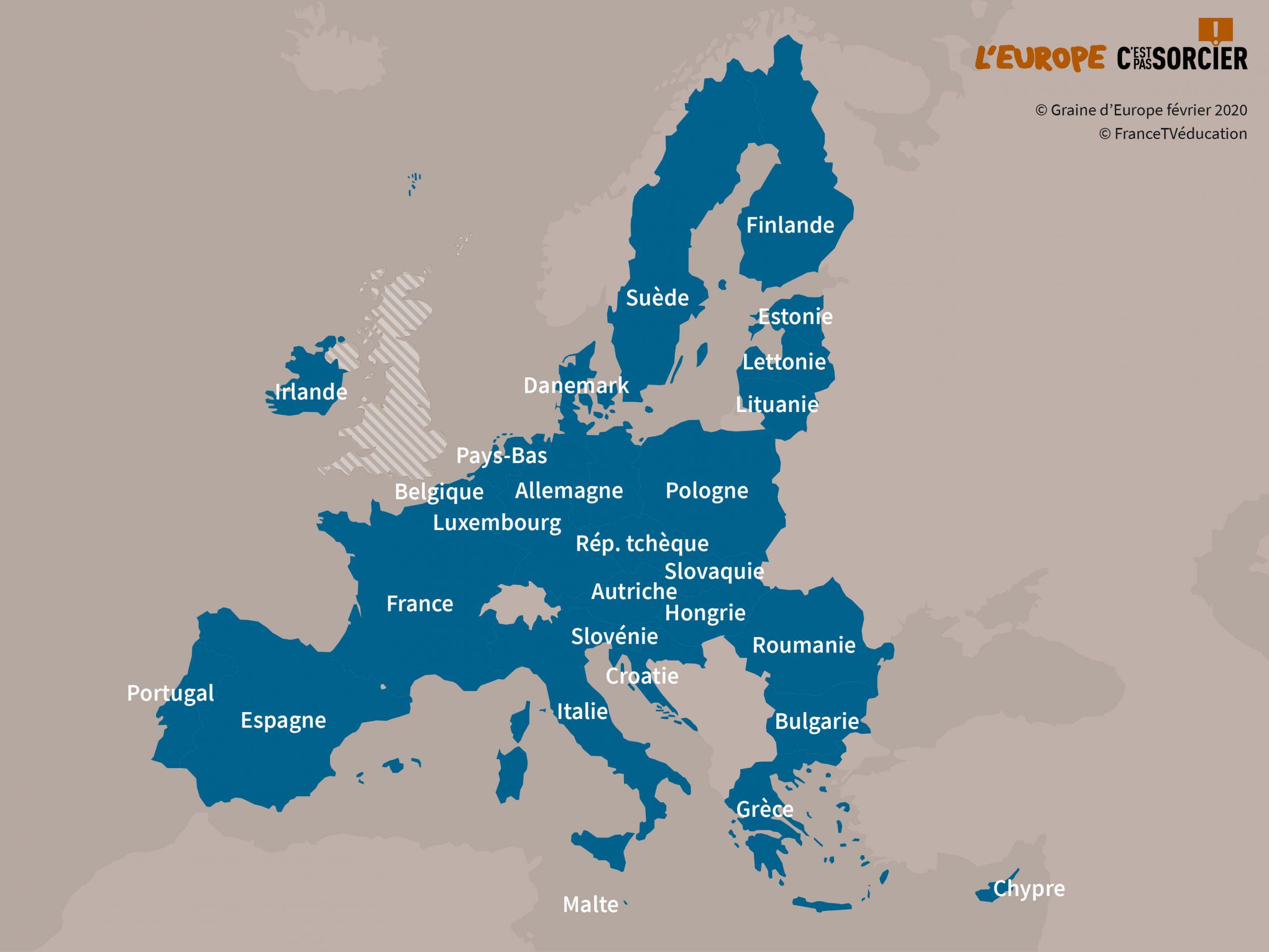 Les Pays De L'union Européenne destiné Carte Des Pays Membres De L Ue