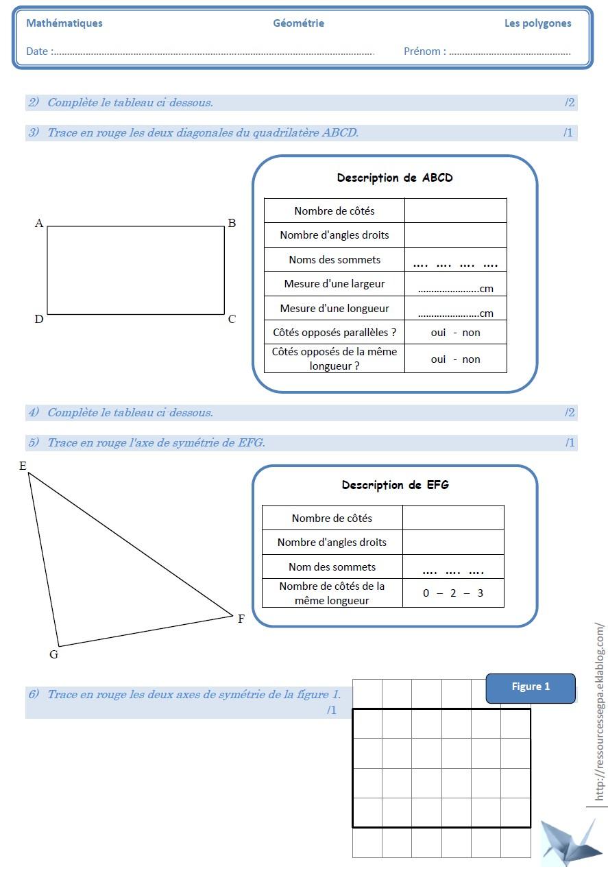 Les Polygones Et Les Solides - Ressources Pour Les Segpa intérieur Évaluation Cm1 Symétrie