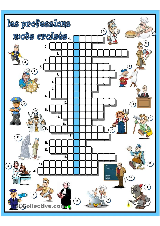 Les Professions Mots Croisés | Mots Croisés, Mots Fleches avec Mots Croisés Enfants À Imprimer