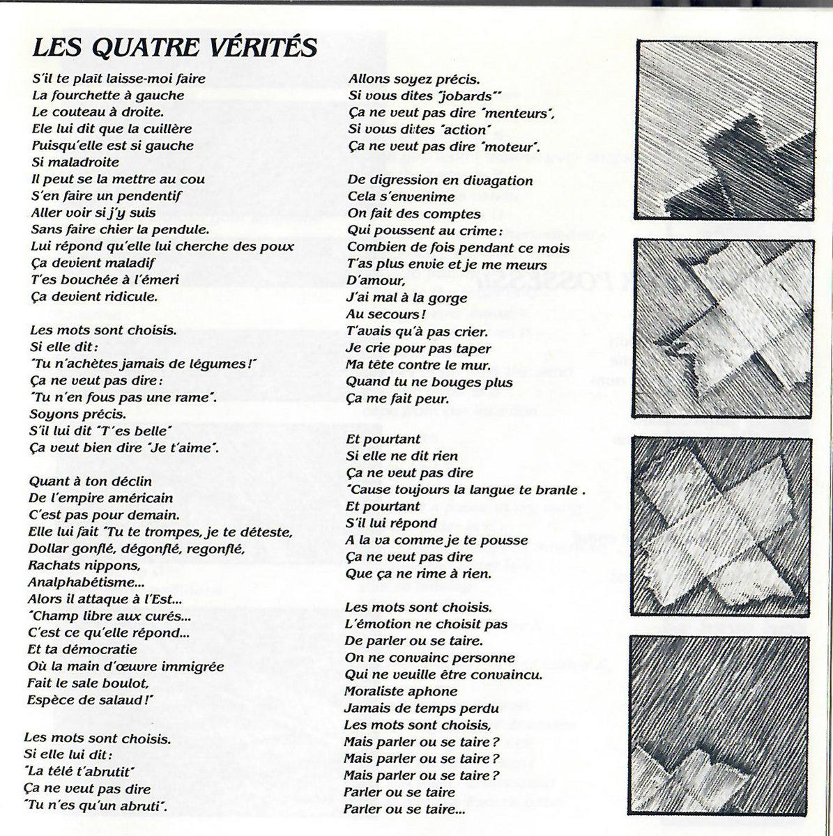 Les Quatre Vérités | Jean-Jacques Birgé pour Un Mot Pour Quatre Images