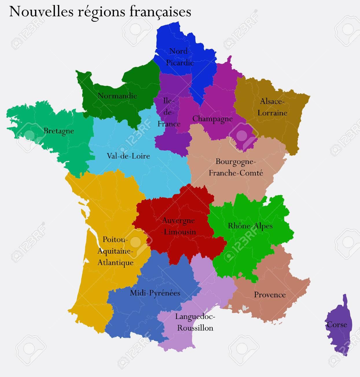 Les Régions De Nouvelles Régions Françaises De Départements Séparés France encequiconcerne Départements Et Régions De France