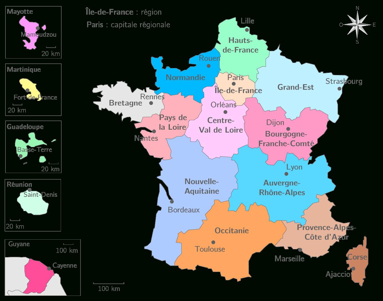Les Régions Françaises Et Leurs Capitales - 3E - Carte destiné Carte Des Régions Françaises