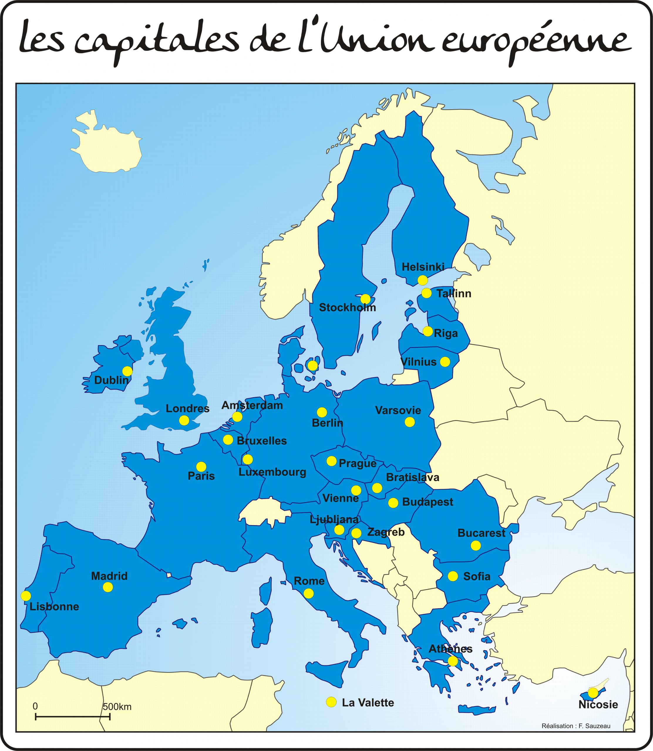 Les Repères Géographiques Du Dnb avec Capitale Union Européenne