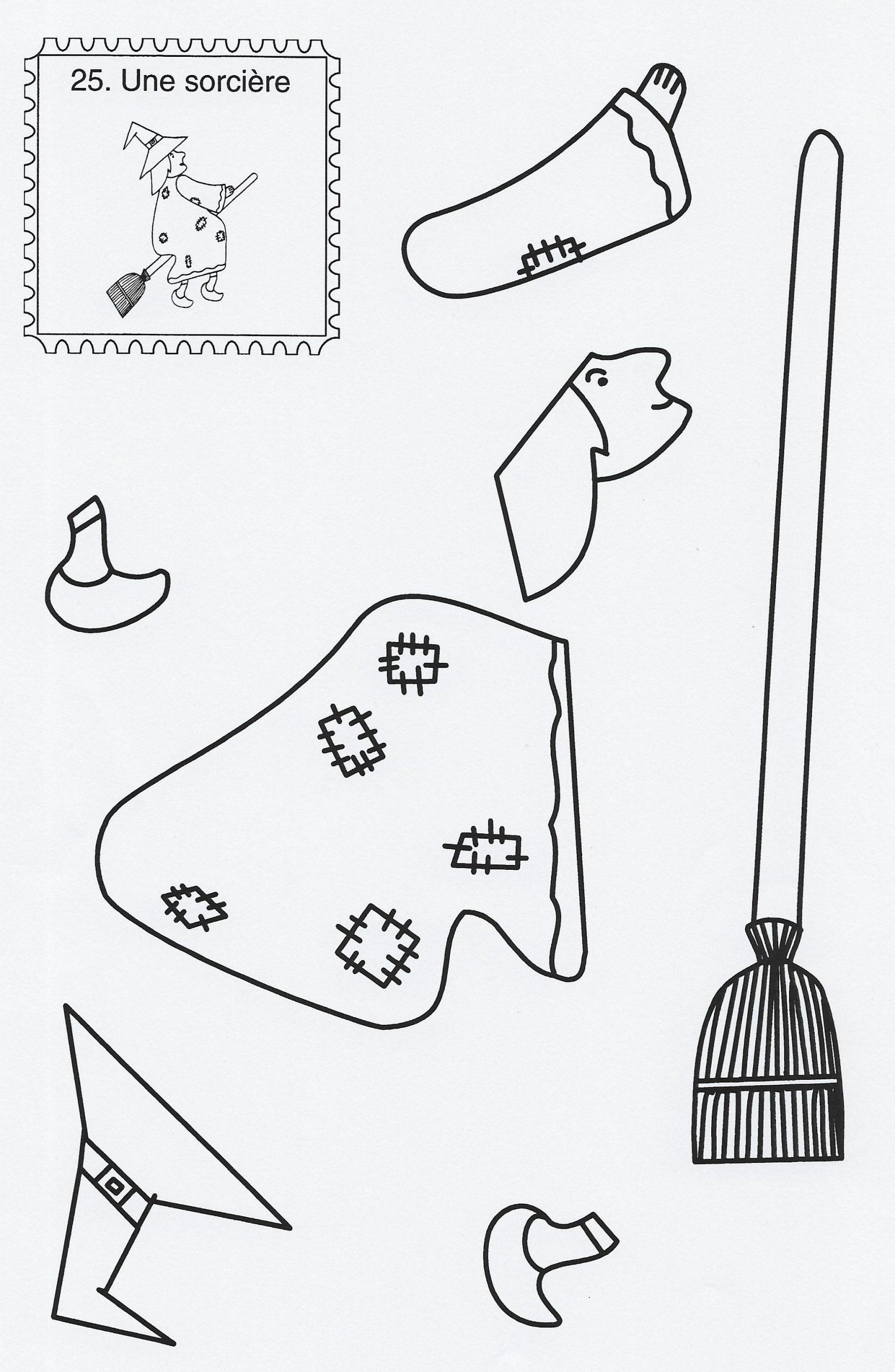 Les Sorcières Et Les Citrouilles | Bricolage Halloween à Découpage Collage Maternelle À Imprimer