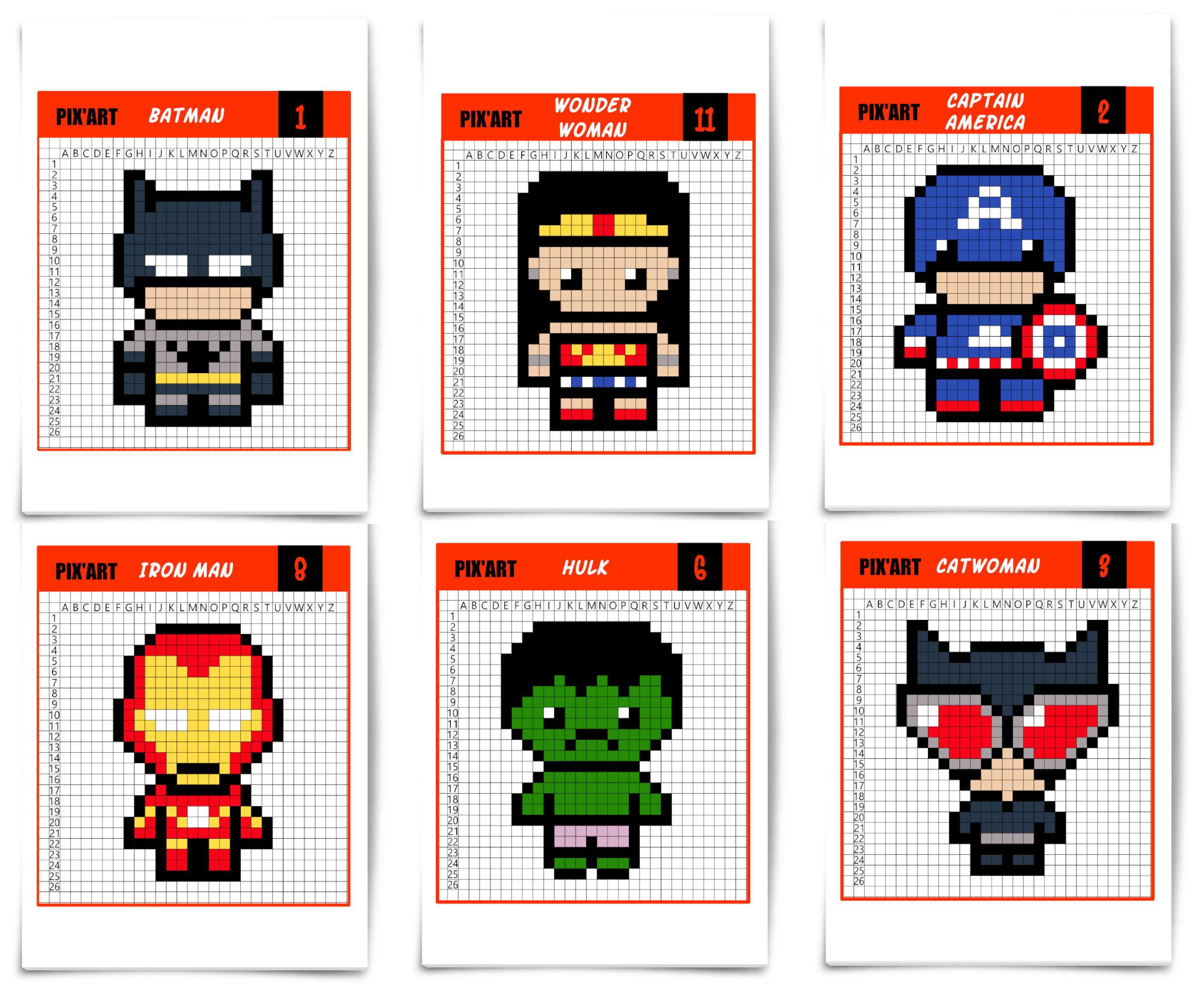 Les Super-Héros Débarquent En Pixel Art - Un Jour Un Jeu dedans Modele Dessin Pixel