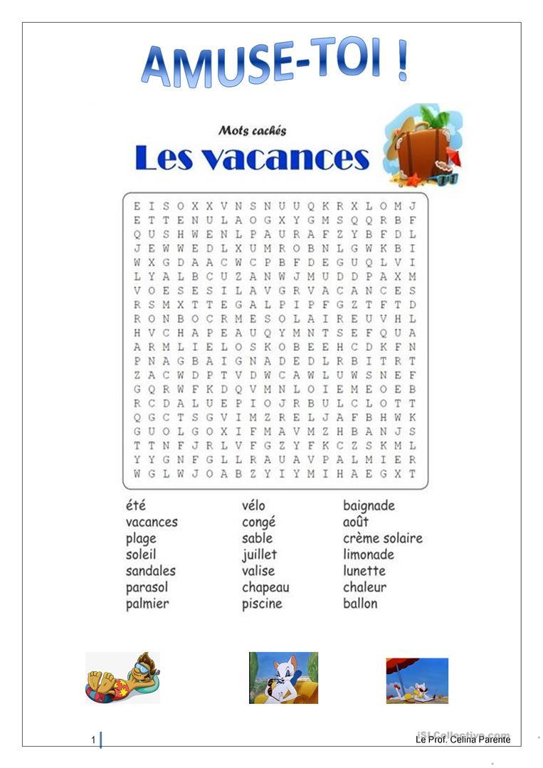 Les Vacances-Mots Fléchés - Français Fle Fiches Pedagogiques destiné Mots Fléchés Facile