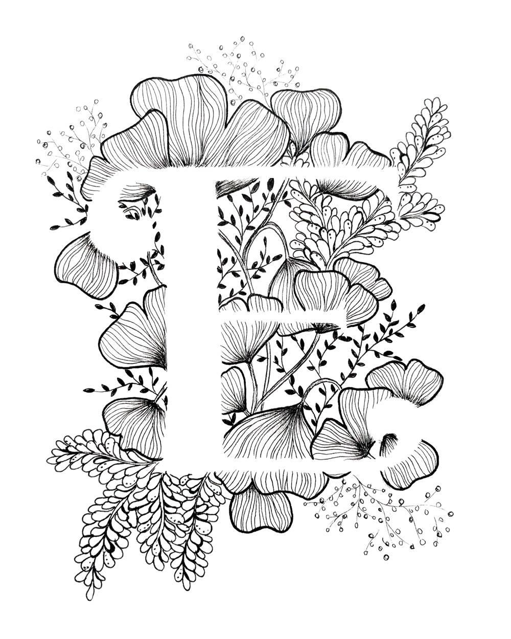Letter E Print - Alphabet, Calligraphy, Typography, Monogram encequiconcerne Dessin Lettre E