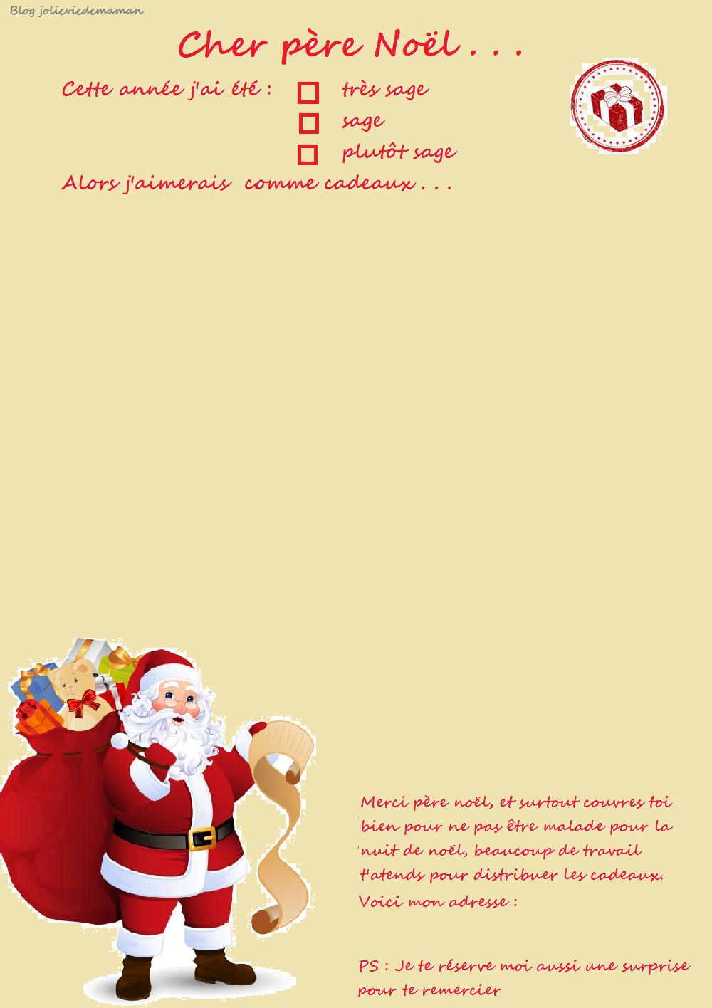 Lettre Au Père Noël À Imprimer - Ma Jolie Vie De Maman intérieur Pere Noel A Imprimer Et A Decouper