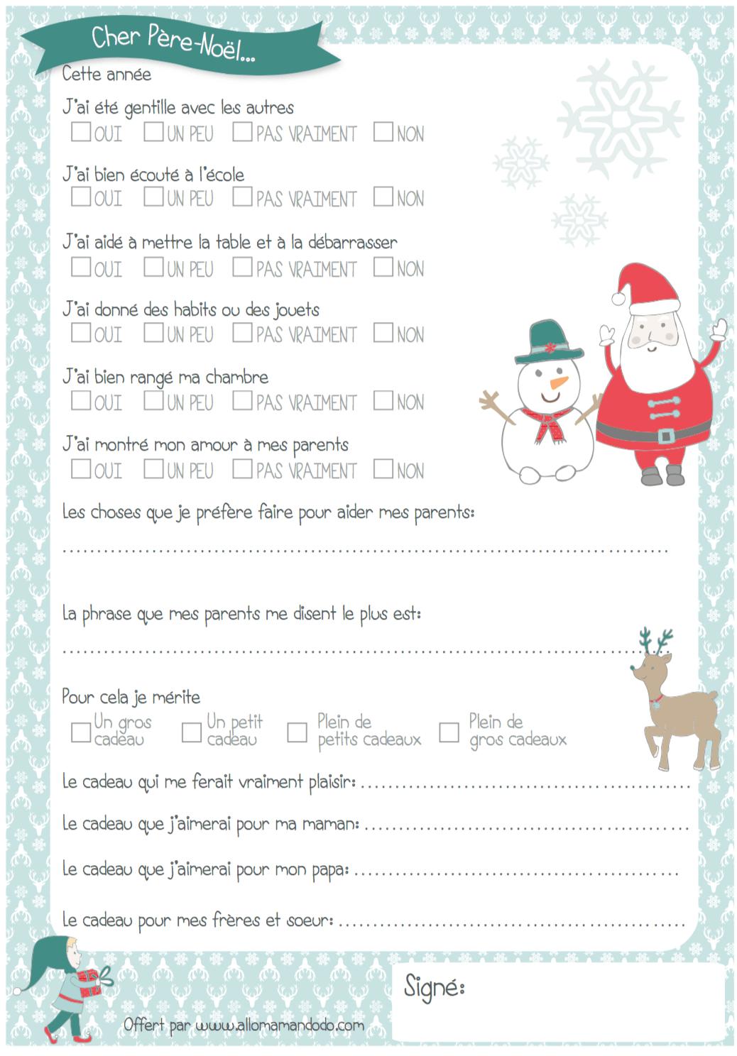 Lettre Au Père Noël À Imprimer ( + Quiz Sage/ Pas Sage destiné Quizz Pour Maternelle