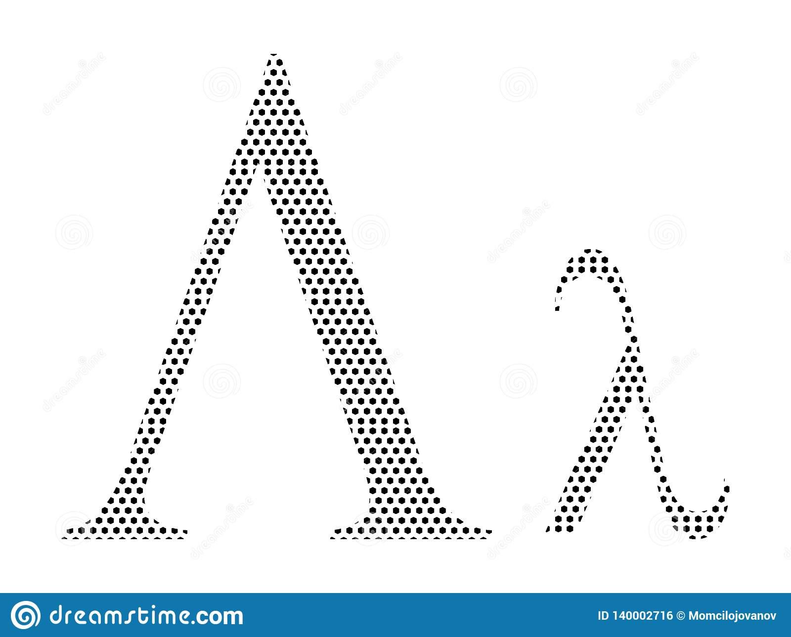 Lettre D'alphabet Grec De Modèle Pointillé De Lambda intérieur Modele Lettre Alphabet