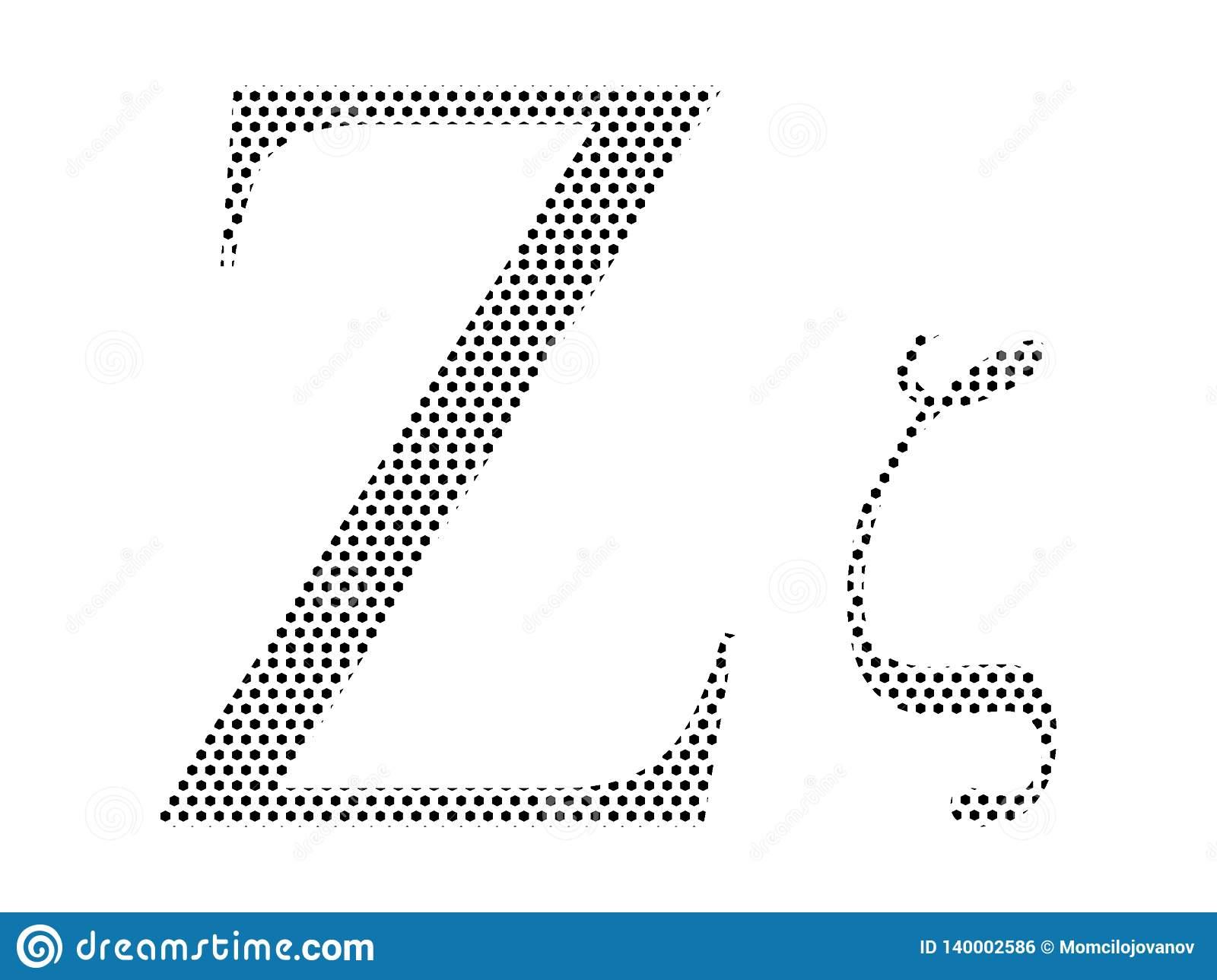 Lettre D'alphabet Grec De Modèle Pointillé De Zeta à Modele De Lettre Alphabet