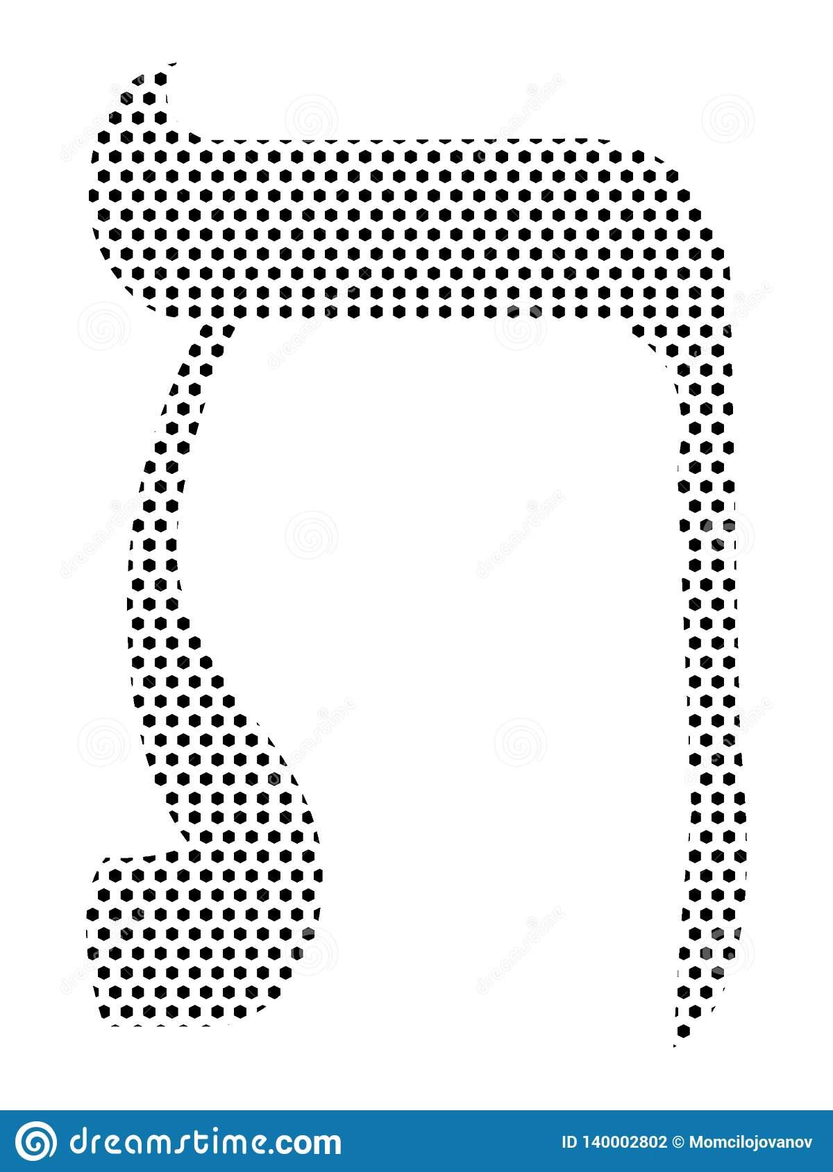 Lettre D'alphabet Hébreu De Modèle Pointillé De Tav destiné Modele De Lettre Alphabet