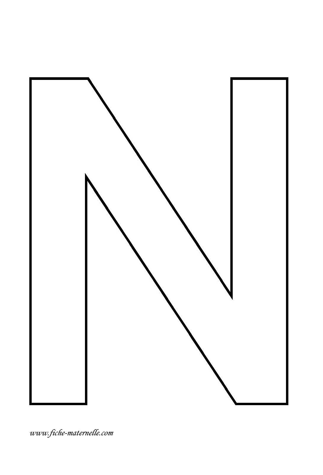 Lettre De L'alphabet À Décorer. Lettre N destiné Lettres Majuscules À Imprimer