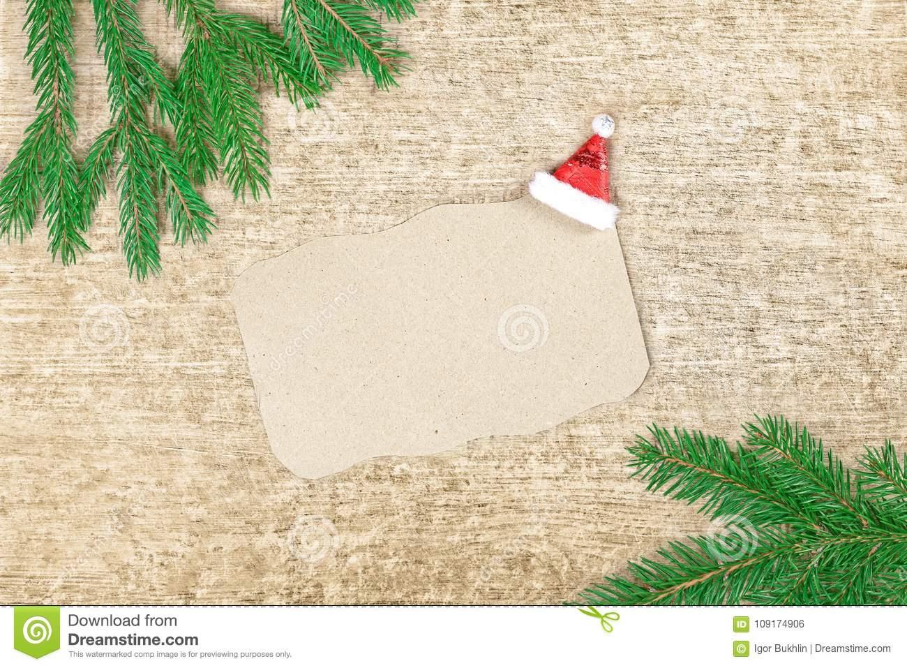 Lettre De Noël À Santa Claus Branches Et Feuille De Papier dedans Papier Lettre De Noel