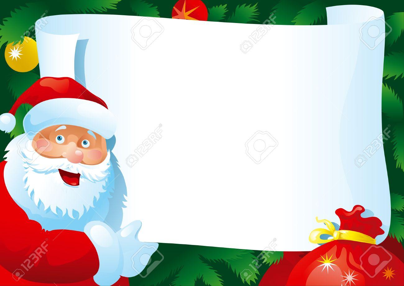 Lettre De Noël. Carte Vectorielle Avec Le Père Noël Et Du Papier Pour Votre  Texte. avec Papier Lettre De Noel
