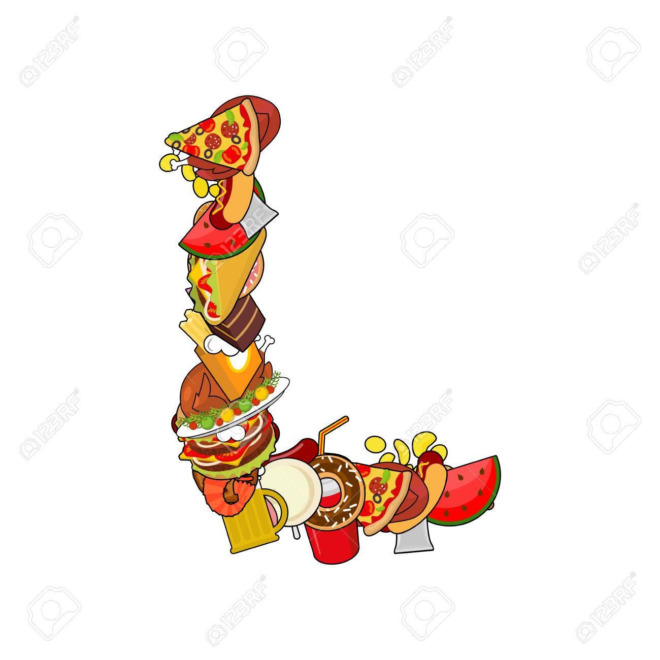 Lettre L Comestible. Signe De L'alphabet De La Nourriture. Alimenter Les  Éléments Du Modèle Concept Abc. Icône De Plat. Pizza Et Tacos. Donuts Et intérieur Modele De Lettre Alphabet