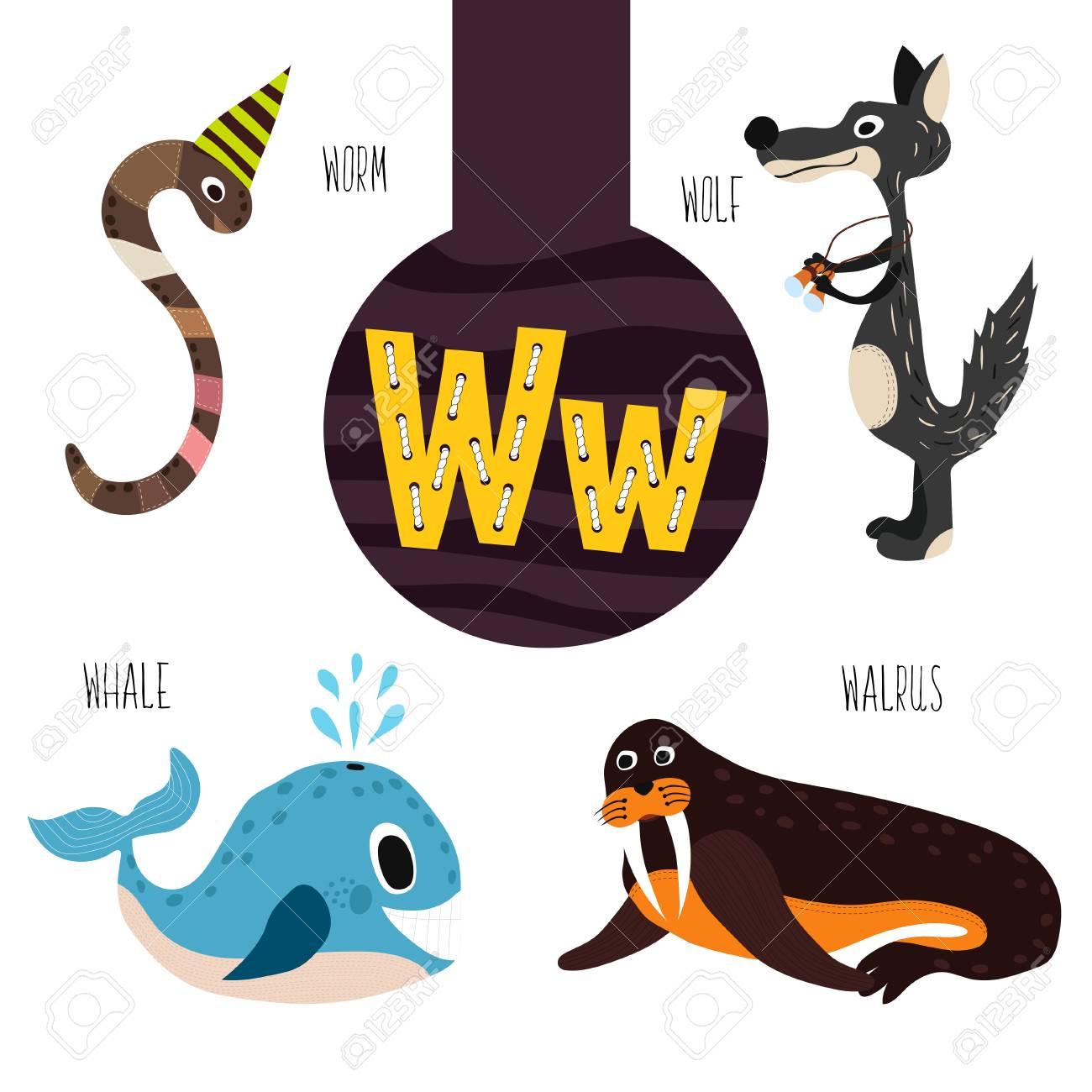 Lettres D'animaux Fun De L'alphabet Pour Le Développement Et  L'apprentissage Des Enfants D'âge Préscolaire. Ensemble De Forêt Mignon,  Les Animaux destiné Les Animaux Domestiques En Maternelle