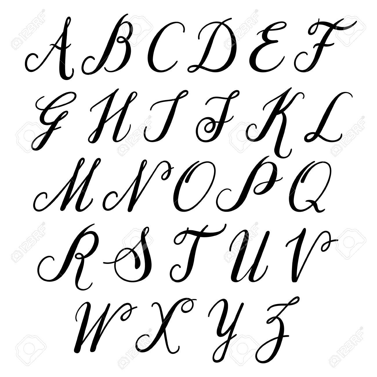 Lettres De L'alphabet: Majuscules. Vector Alphabet. Main Lettres Établi.  Lettres De L'alphabet Écrites Avec Un Pinceau concernant L Alphabet En Majuscule