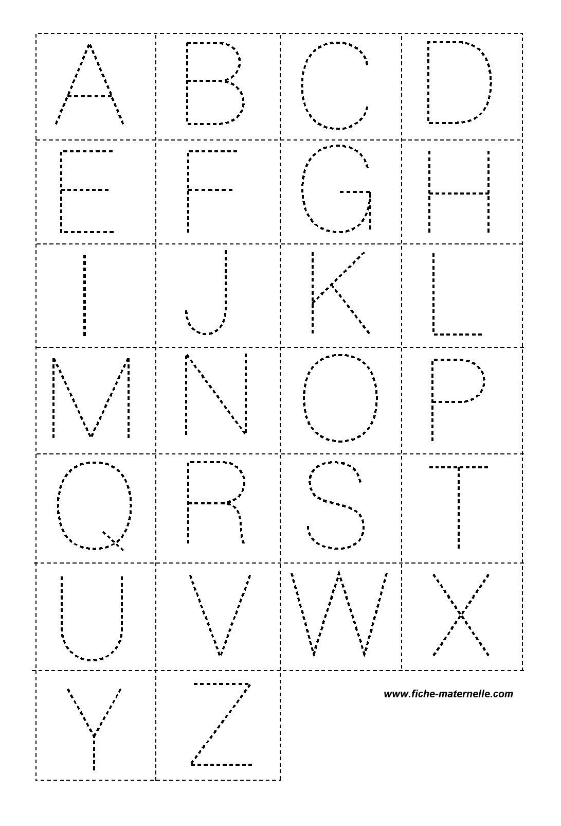 Lettres En Pointillé Pour La Classe à Graphisme Maternelle A Imprimer Gratuit