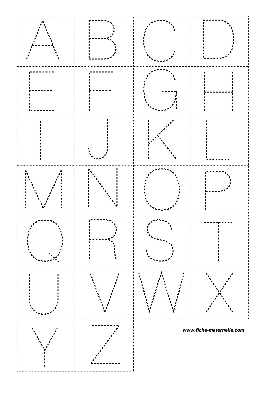Lettres En Pointillé Pour La Classe intérieur Apprendre À Écrire L Alphabet En Maternelle