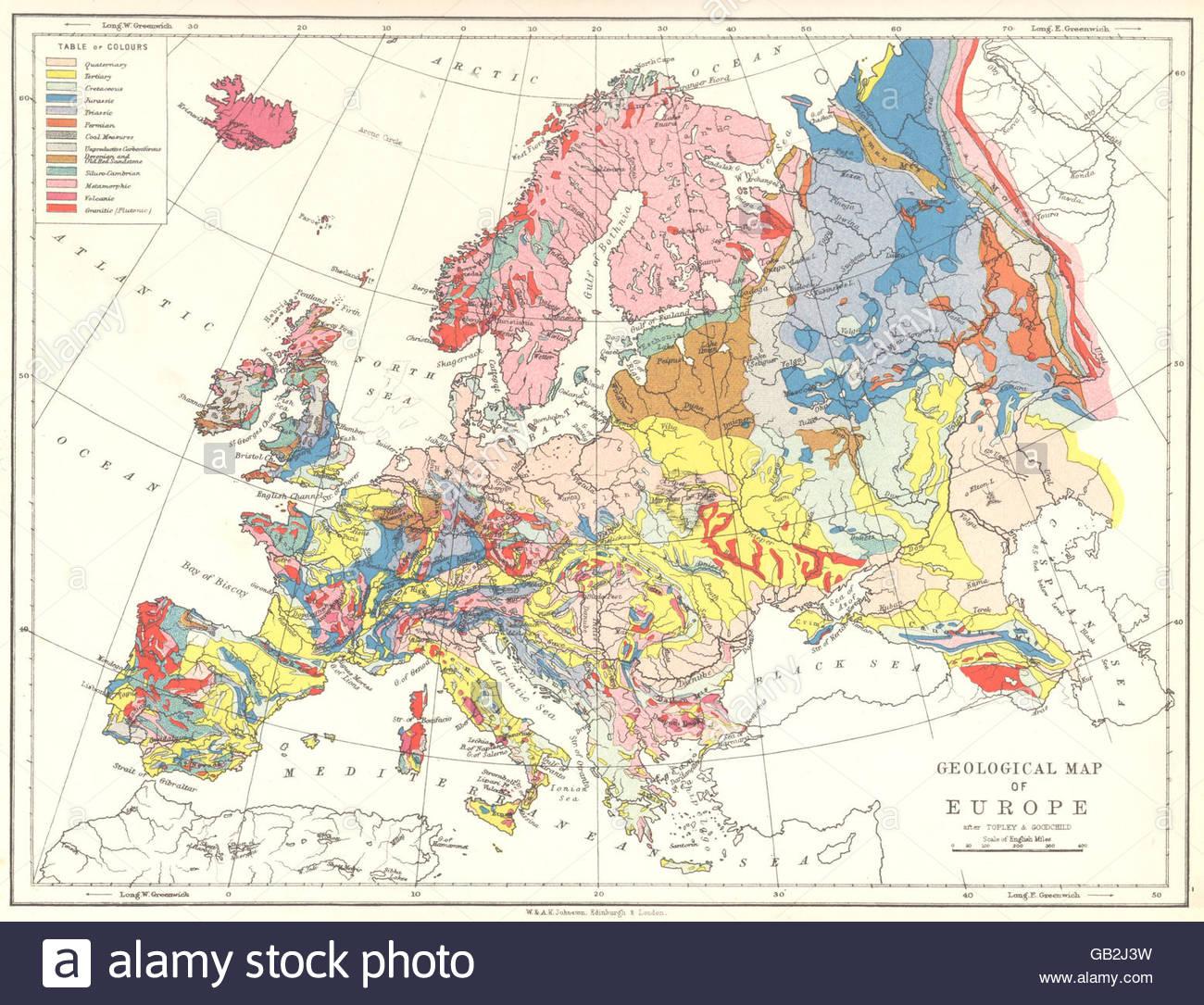 L'europe : Carte Géographique De L'europe, 1897 Banque D serapportantà Carte Géographique Europe