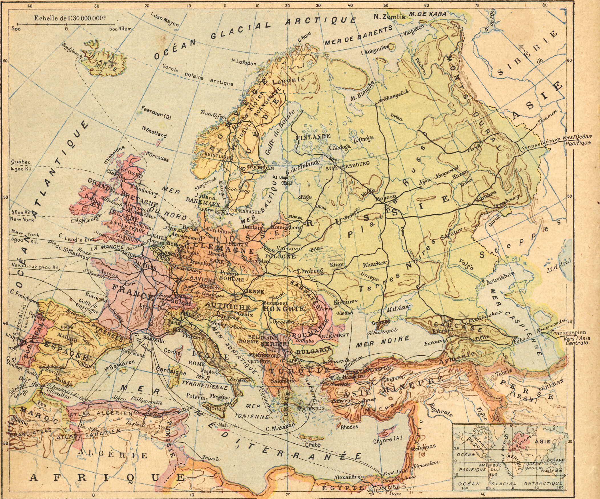 L'europe Dans Le Livre De Géographie De Florentine (1906) concernant Carte Géographique Europe