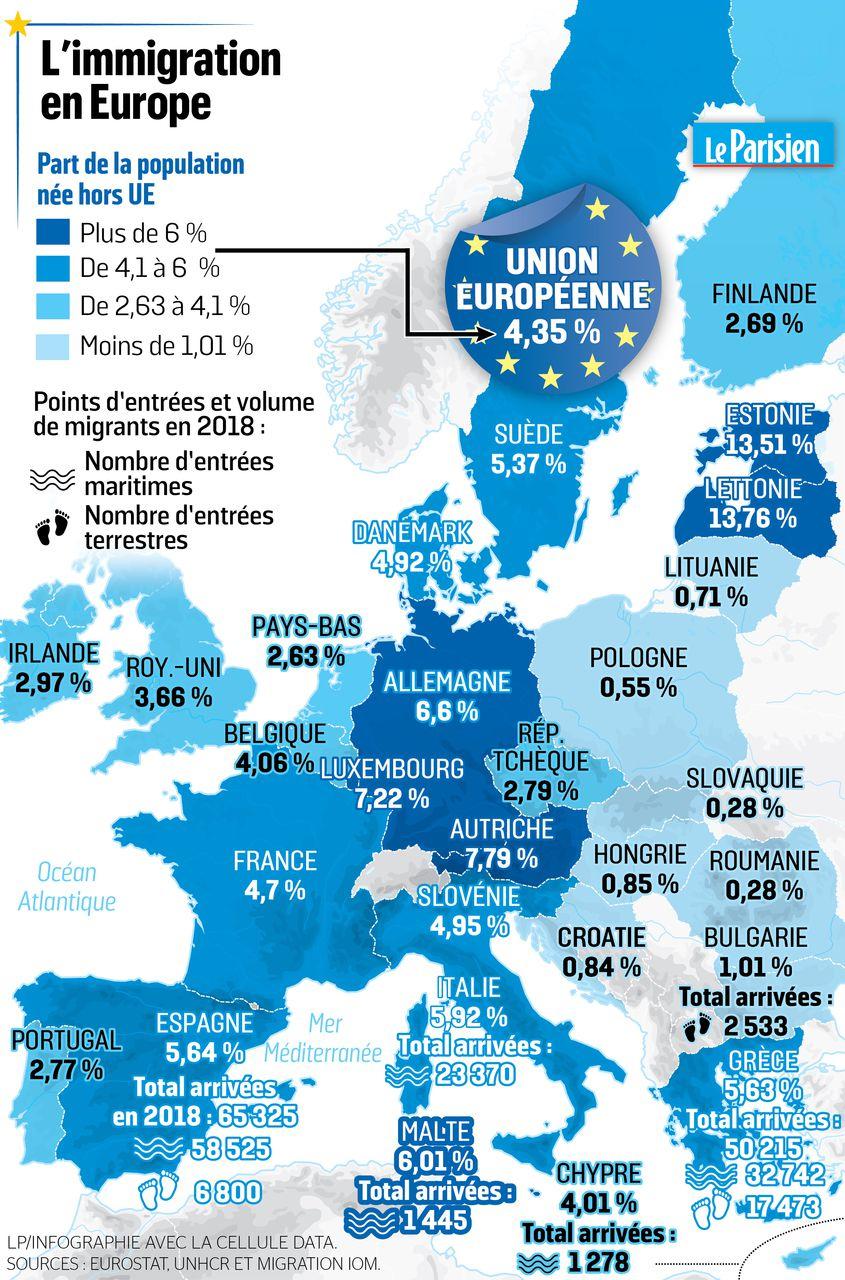 L'europe En Cartes : Le Défi Migratoire - Le Parisien concernant Carte Union Européenne 28 Pays