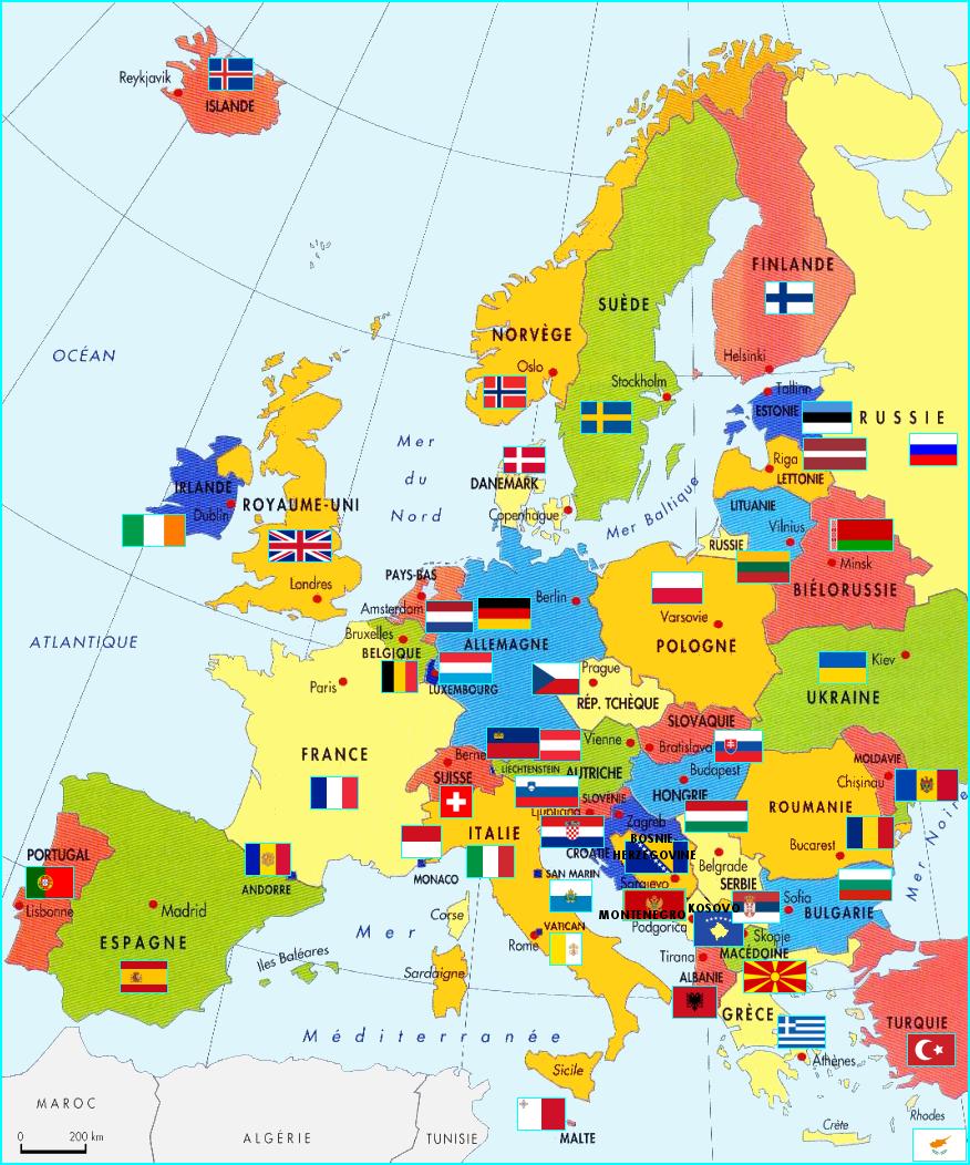 L'europe serapportantà Carte Europe Pays Capitales