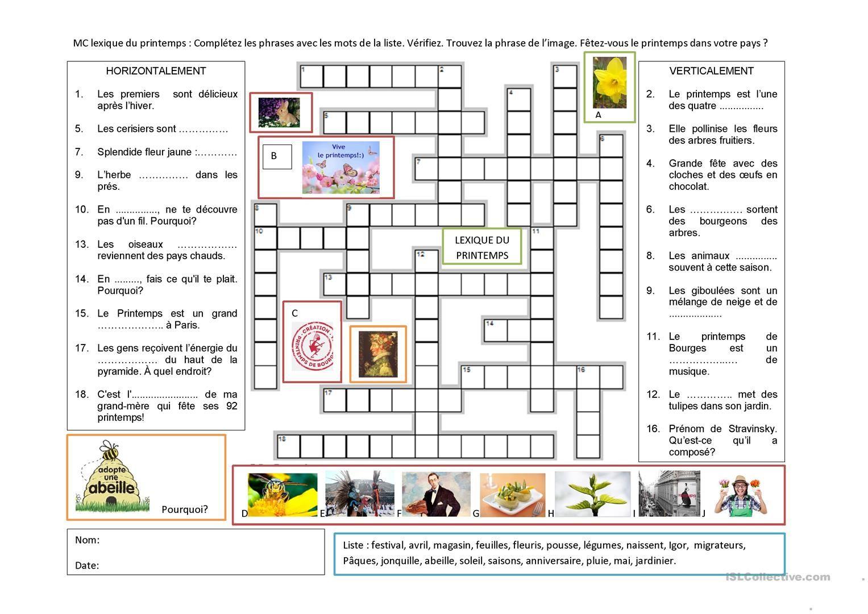 Lexique Du Printemps | Mots Mêlés Printemps, Printemps Et Fle tout Mots Croisés Gratuits À Imprimer Cycle 3