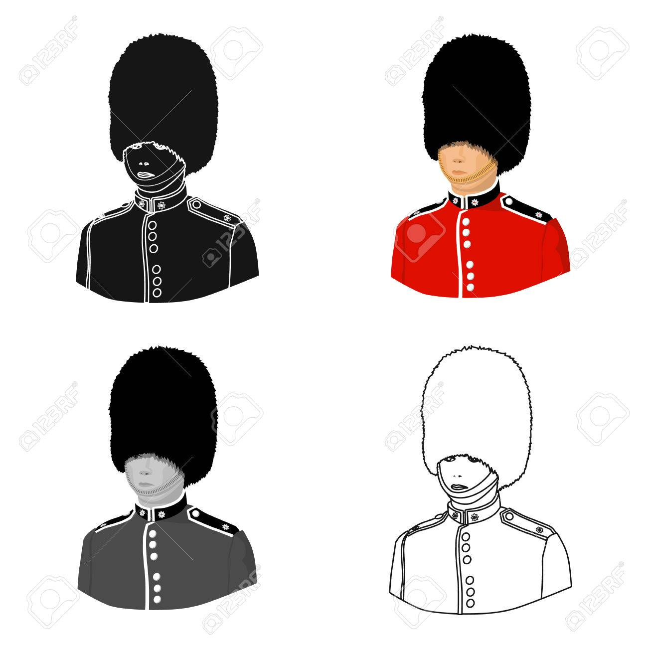 L'icône De Garde De La Reine Dans Le Style De Dessin Animé Isolé Sur Fond  Blanc. Angleterre Country Symbol Illustration Vectorielle. avec Dessin De Angleterre