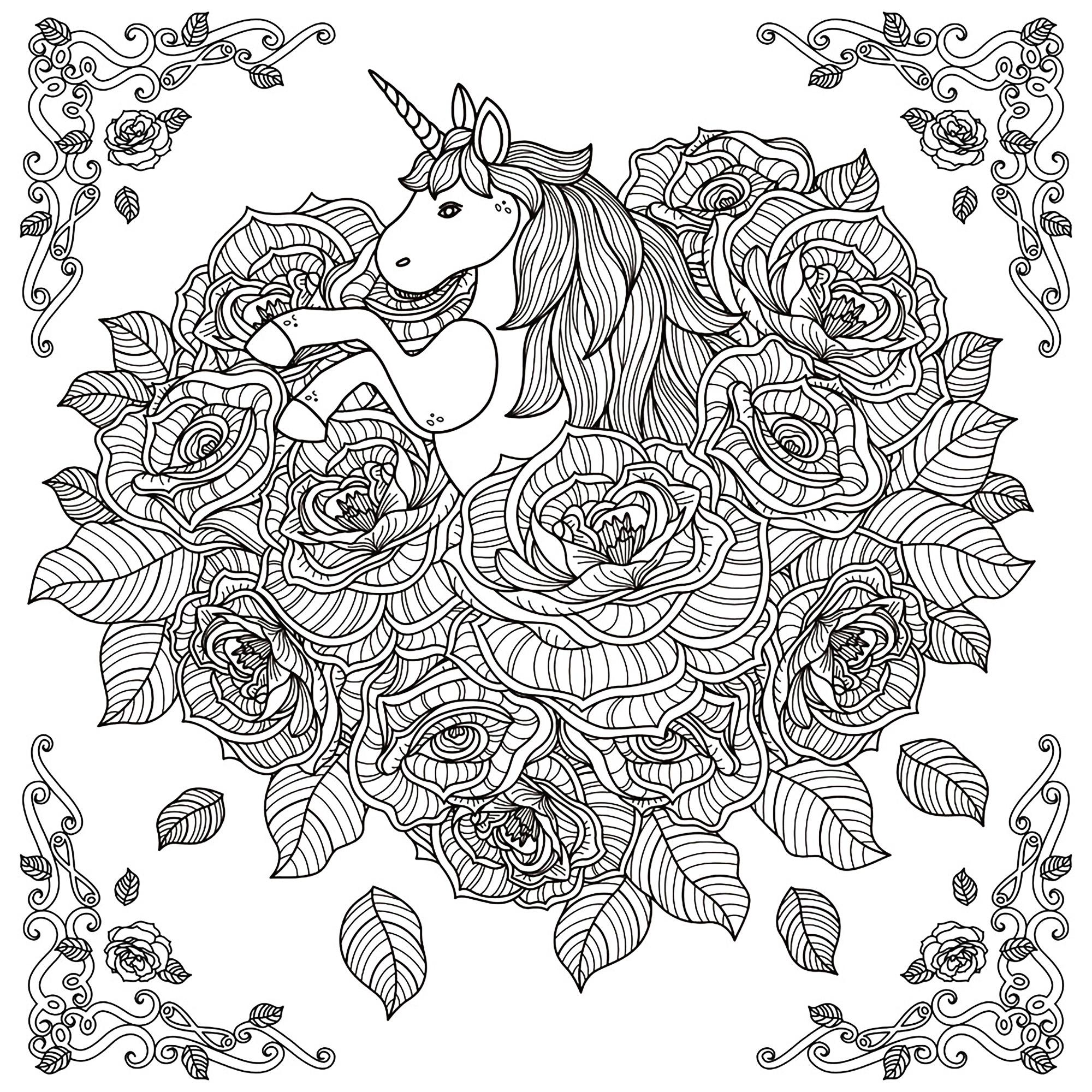 Licorne Mandala - Licornes - Coloriages Difficiles Pour Adultes destiné Dessiner Un Mandala