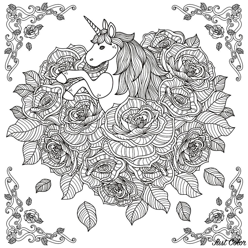 Licorne Mandala - Licornes - Coloriages Difficiles Pour Adultes encequiconcerne Coloriage A4 Imprimer Gratuit