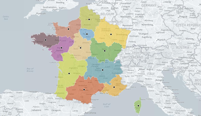 L'ign A Trouvé Le Centre Géographique Des 13 Nouvelles Régions intérieur Nouvelles Régions Carte