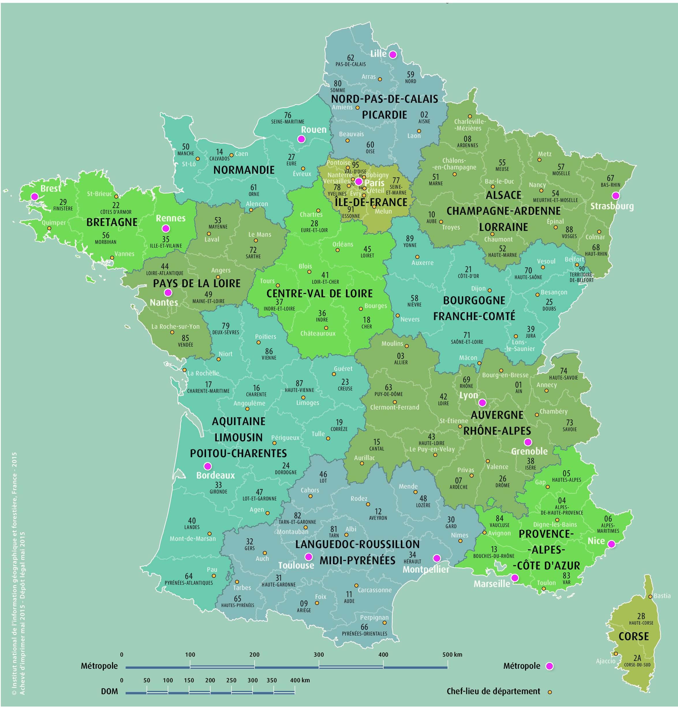 L'ign Calcule Le Centre Des Nouvelles Régions | 94 Citoyens destiné Nouvelles Régions De France