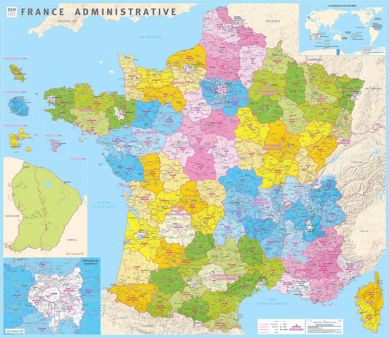 L'ign Publie La Carte Administrative De La France À 13 à Nouvelles Régions De France 2016