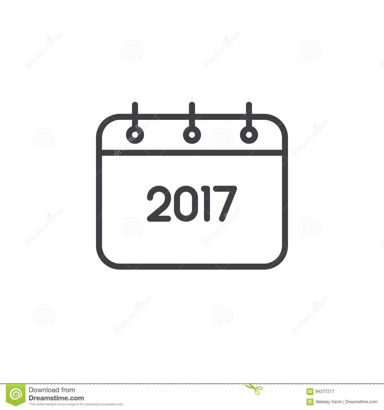 Ligne Icône, Signe De Calendrier De 2017 Ans De Vecteur D à Calendrier 2017 En Ligne